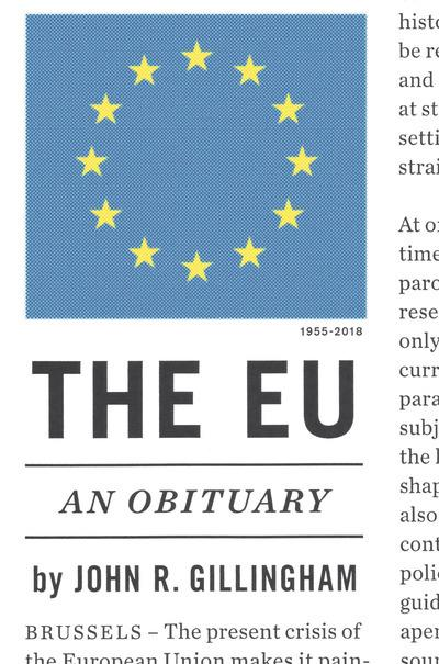 The EU an obituary. 9781784784249
